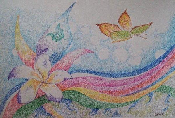 Fleur-pointillés